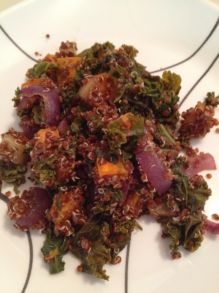 Quinoa Salad with Roasted Sweet Potato, Kale, Apple, and Red Onion ...