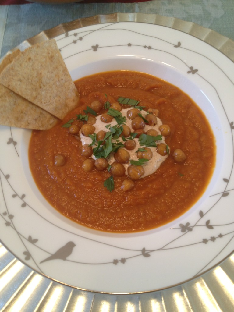 Spiced Carrot Soup with Crispy Chickpeas and Tahini « Well Dined