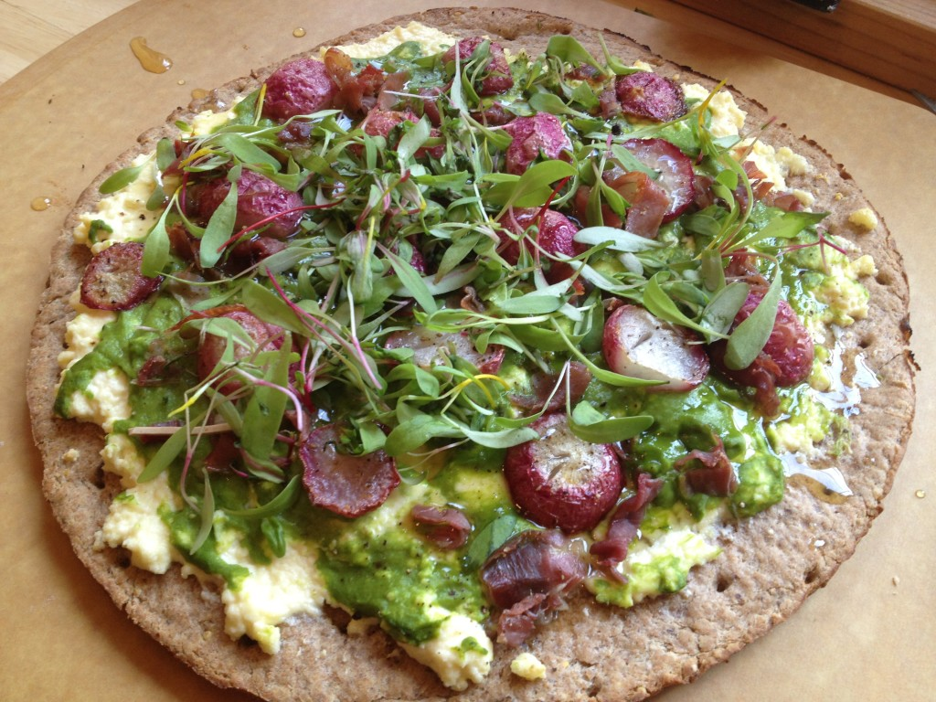 Well Dined | Roasted Radish Flatbread with Ricotta and Honey