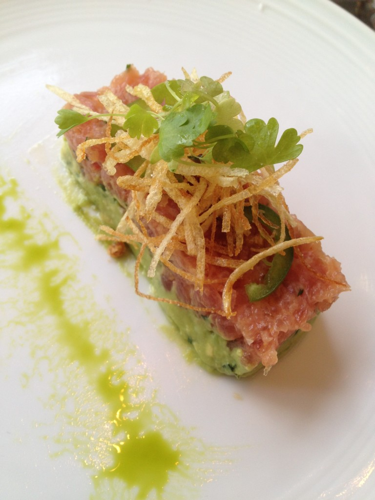 Tuna tartare with avocado, crispy shallots, and jalapeno. I was ...