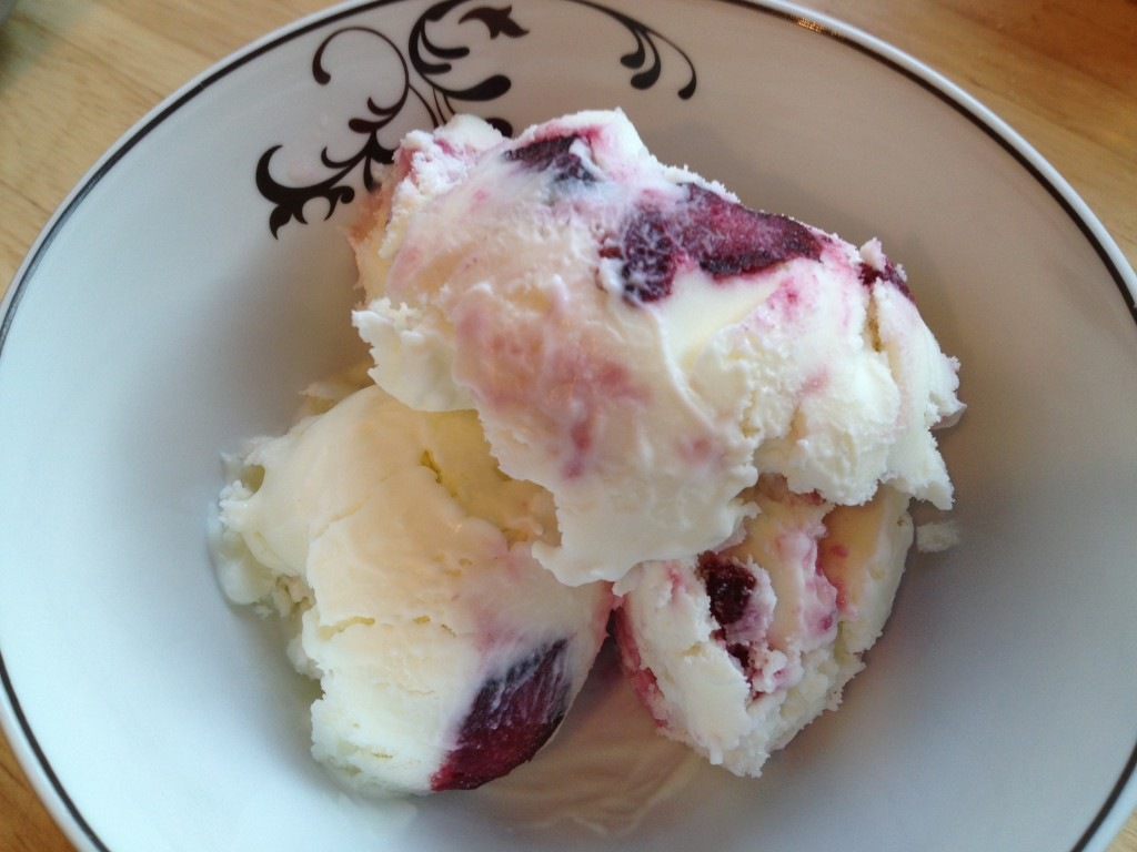 Well Dined | Goat Cheese Ice Cream with Roasted Cherries