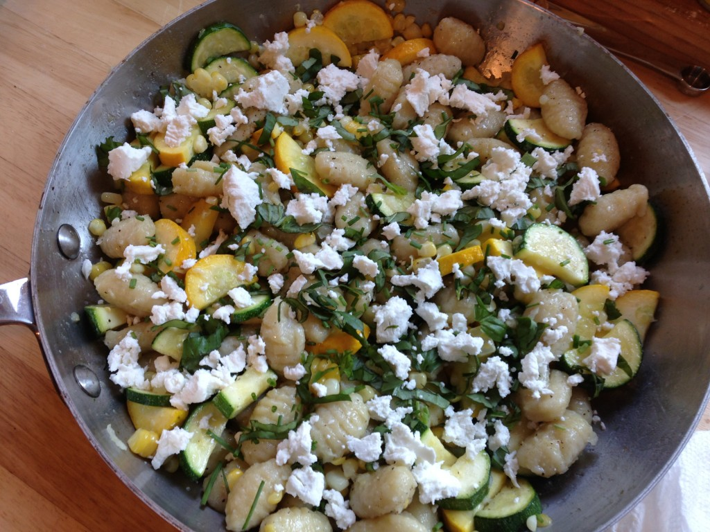 Well Dined   Gnocchi with Summer Squash, Corn, and Goat Cheese