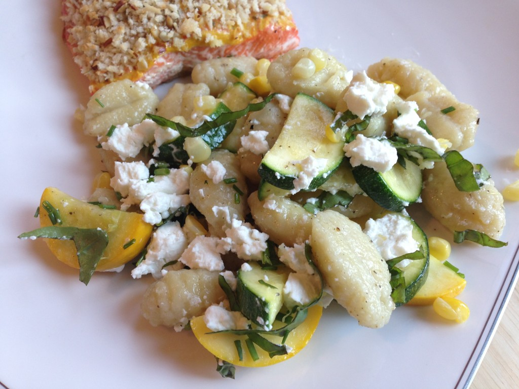 Well Dined | Gnocchi with Summer Squash, Corn, and Goat Cheese