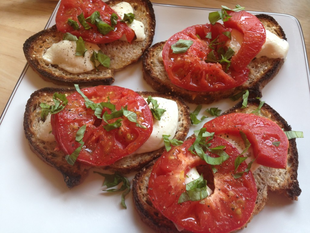 Well Dined | Broiled Tomato and Mozzarella Tartines