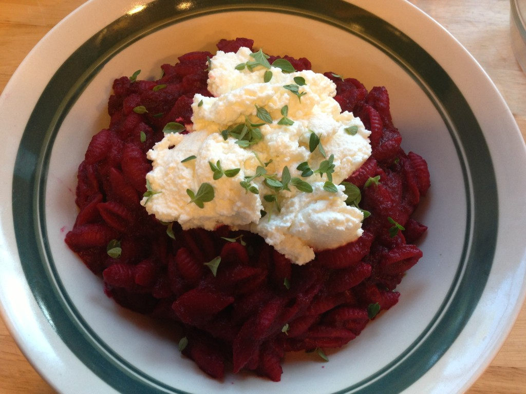 Well Dined | Roasted Beet Pasta Sauce with Ricotta and Herbs