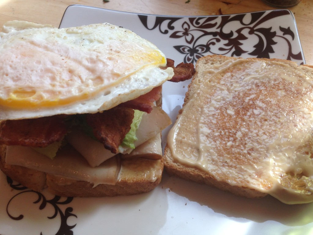 Well Dined | Turkey, Bacon, Avocado, and Egg Sandwich on Toast with Roasted Garlic Aioli