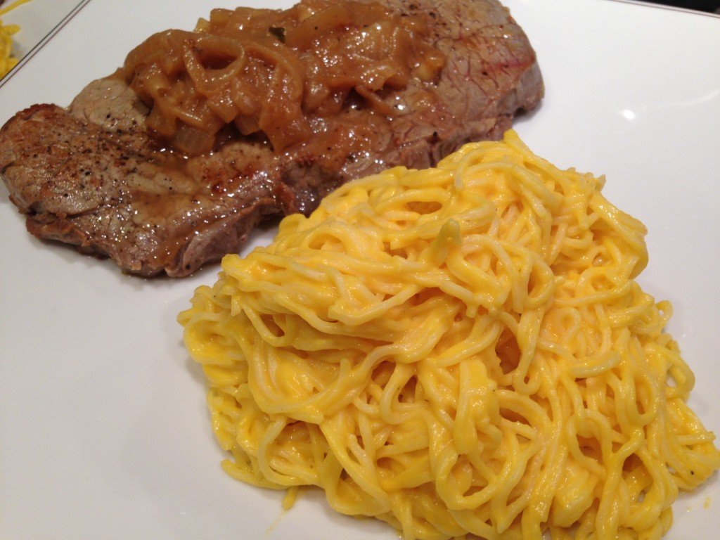 Well Dined | Butternut Squash and Goat Cheese Alfredo, Steak with Caramelized Onions and Sherry