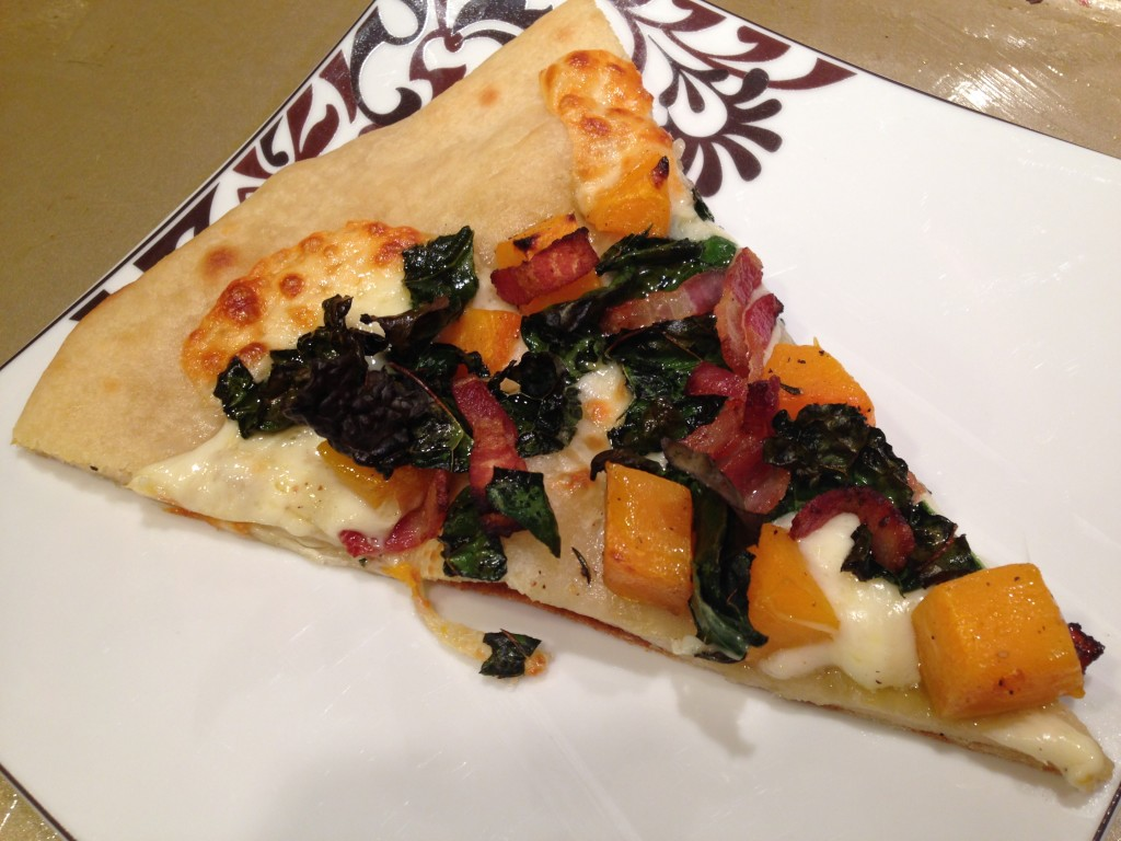 Well Dined | Butternut Squash and Kale Pizza with Smoked Mozzarella and Bacon