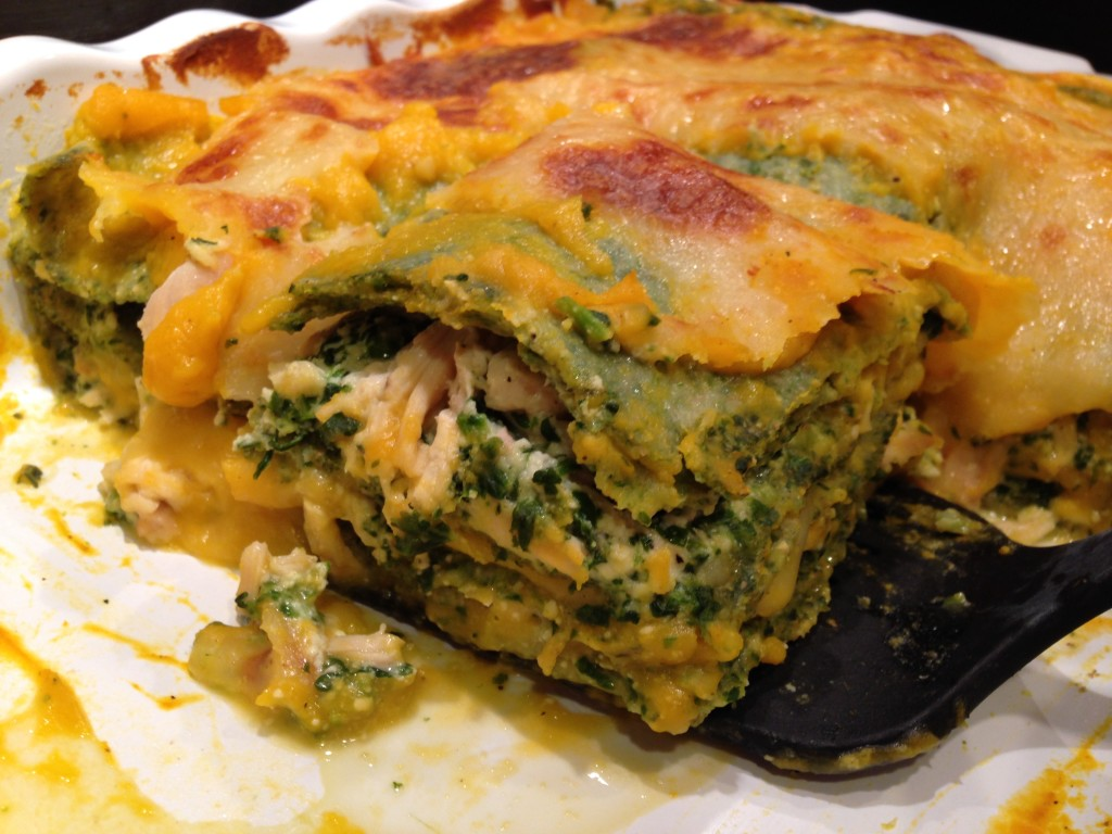 Well Dined | Butternut Squash and Spinach Lasagna with Homemade Spinach Whole Wheat Noodles