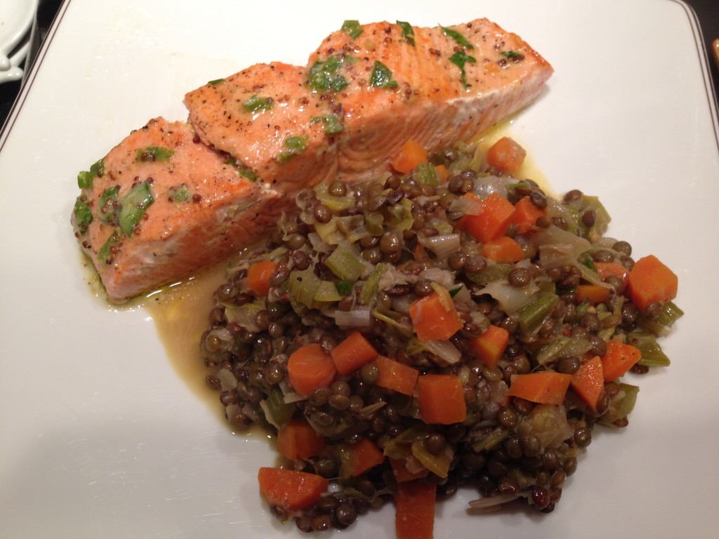 Well Dined | Salmon and Lentils with Mustard Butter