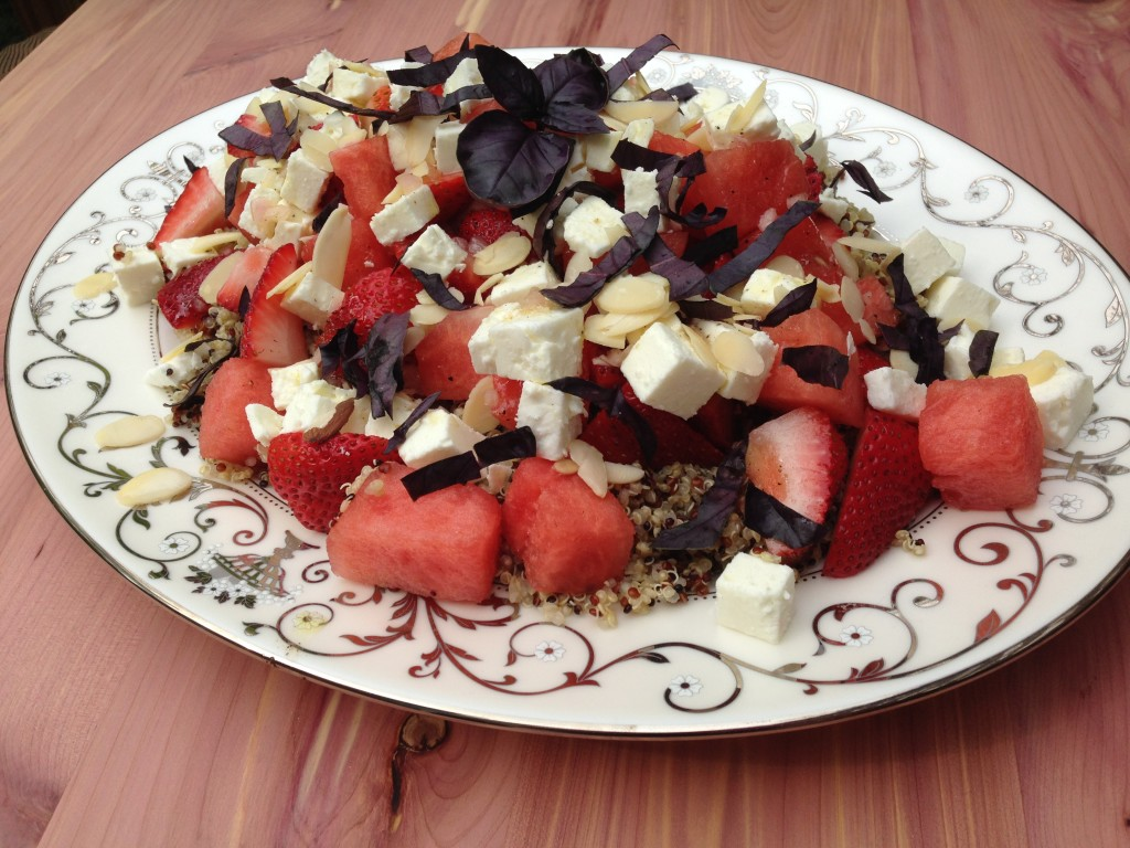 Well Dined | Quinoa Salad with Watermelon, Strawberry, and Feta