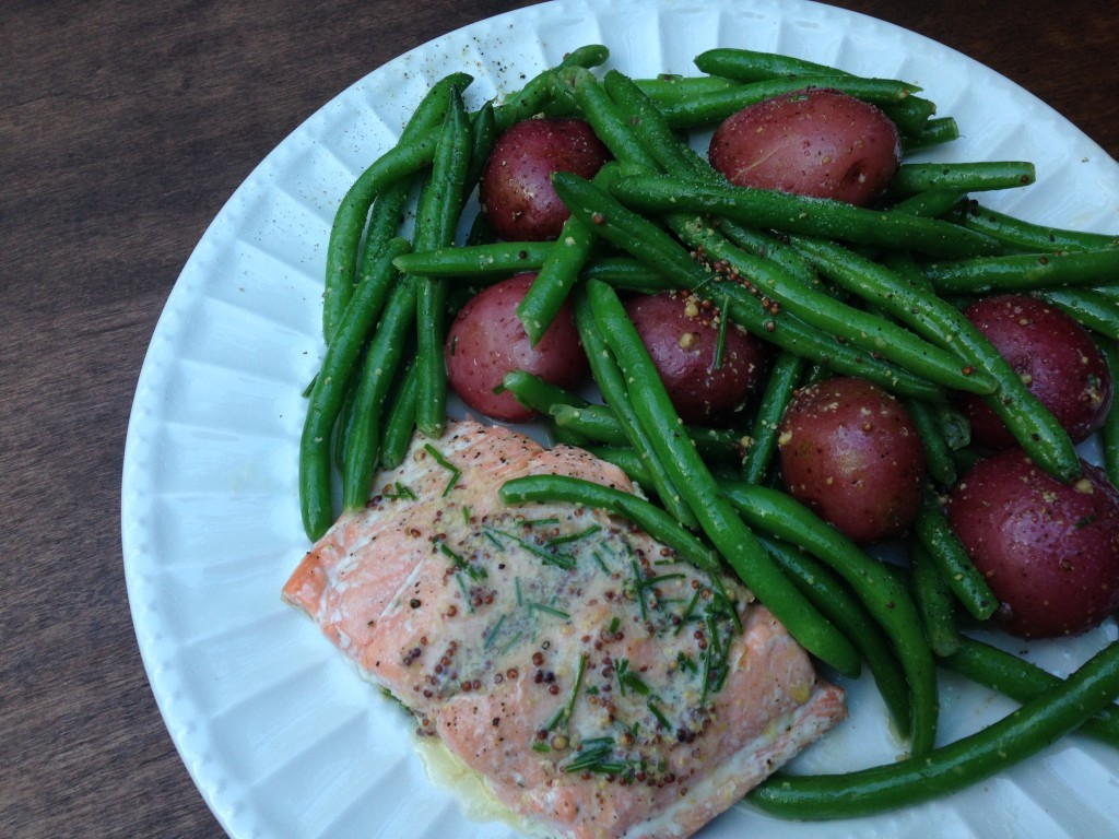 Well Dined | Broiled Salmon with Mustard Butter and Boiled Potatoes and Green Beans