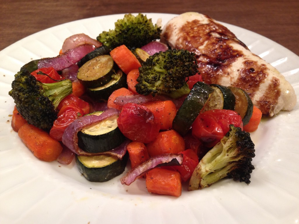 Well Dined | Poached Chicken and Balsamic Roasted Vegetables