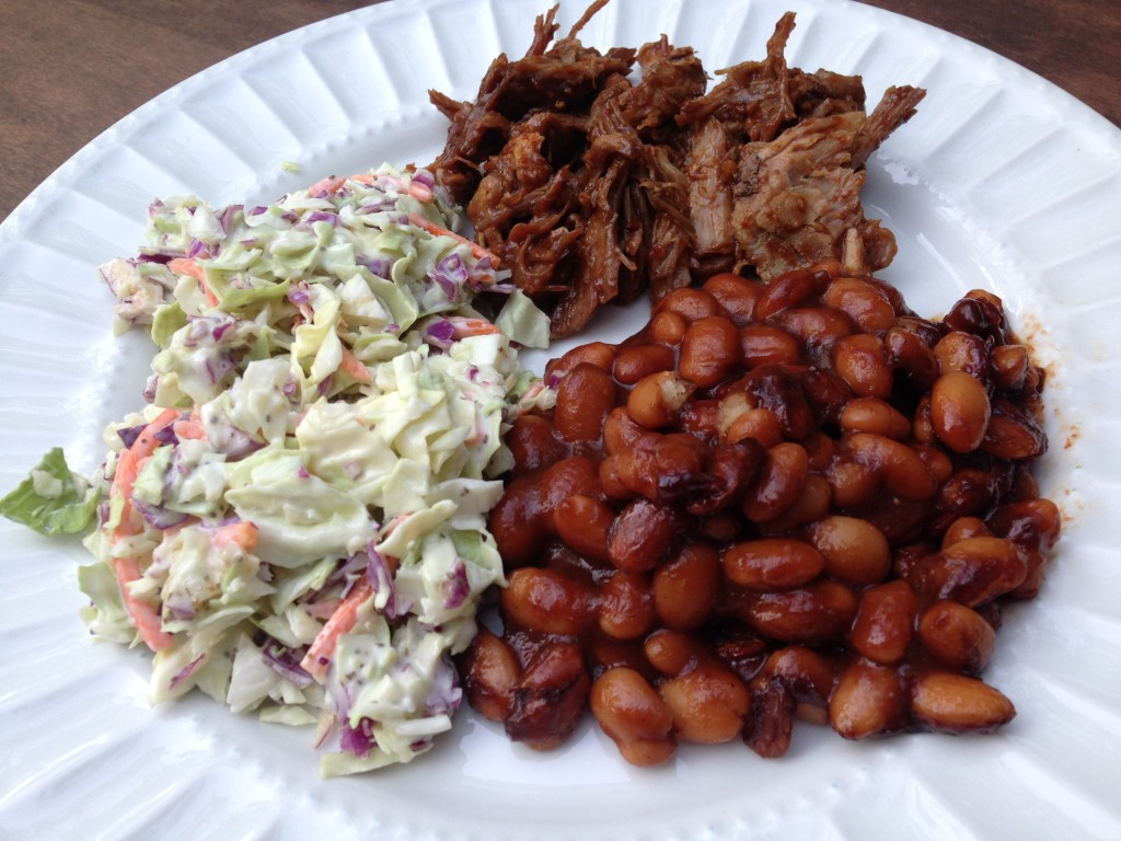 Well Dined | BBQ Pork with Coleslaw and Baked Beans