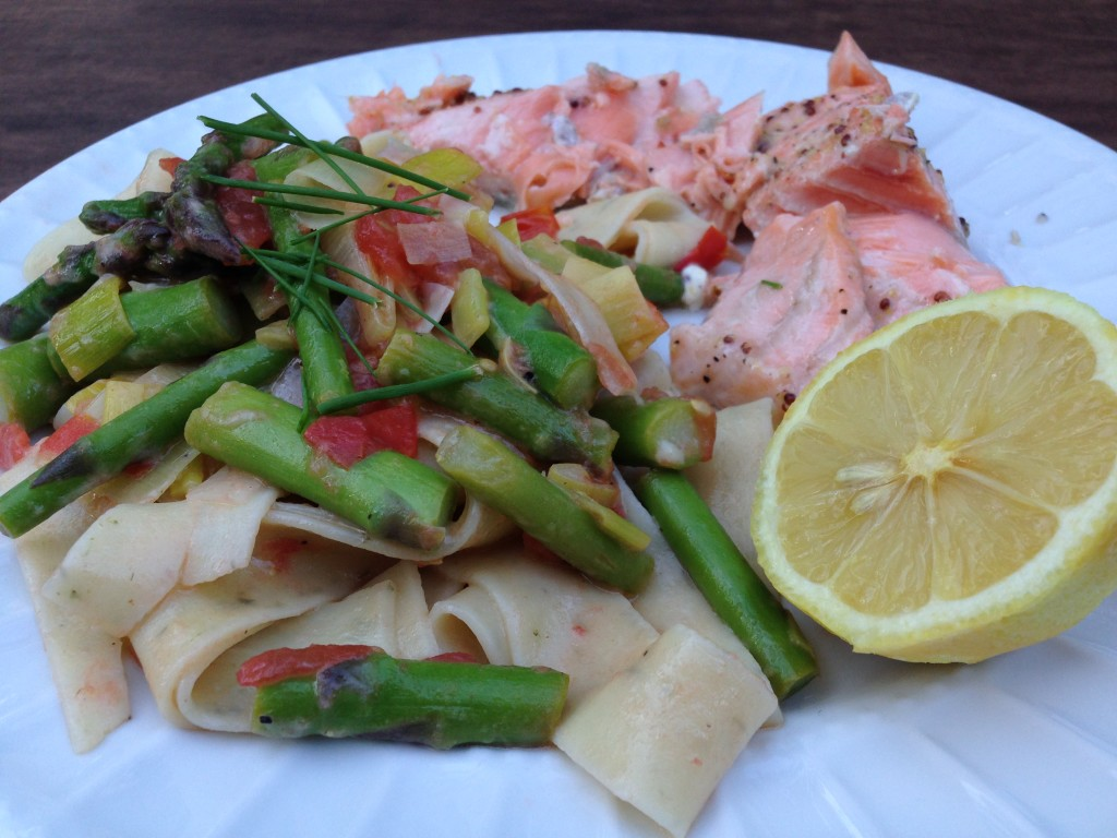 Well Dined | Farmer's Market Pasta with Asparagus, Tomato, Leek, Lemon, and White Wine