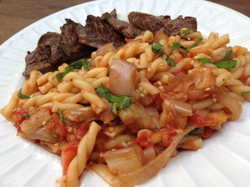 Well Dined | Farmer's Market Pasta with Roasted Eggplant, Tomato, and Basil