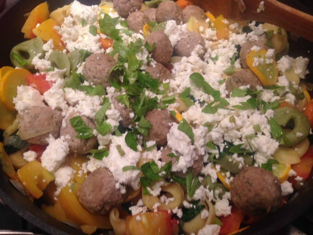 Well Dined | Tortellini with Vegetables and Meatballs