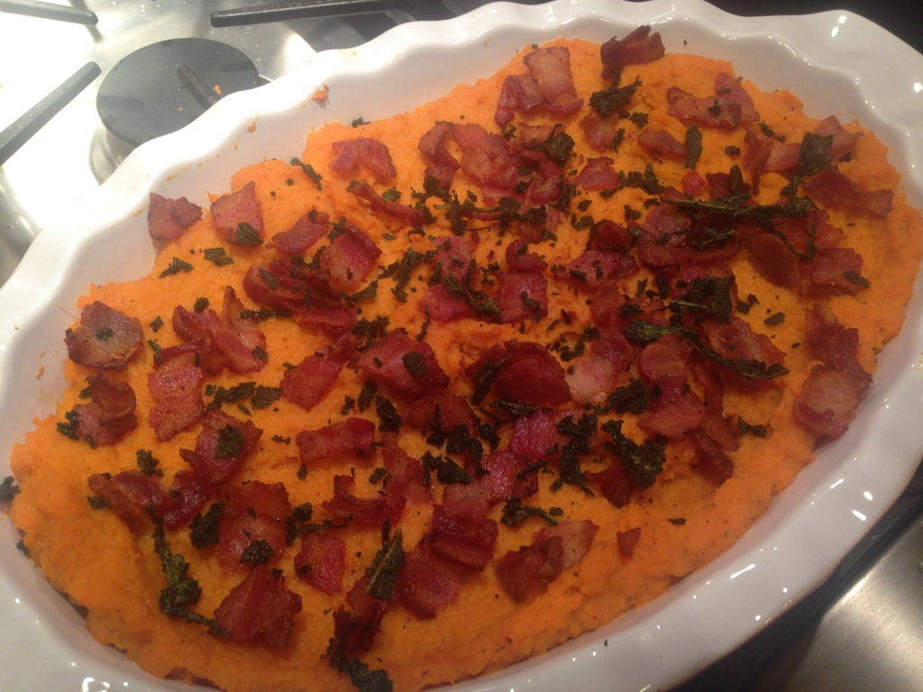 Well Dined | Bourbon Bacon Whipped Sweet Potatoes with Brown Butter and Sage