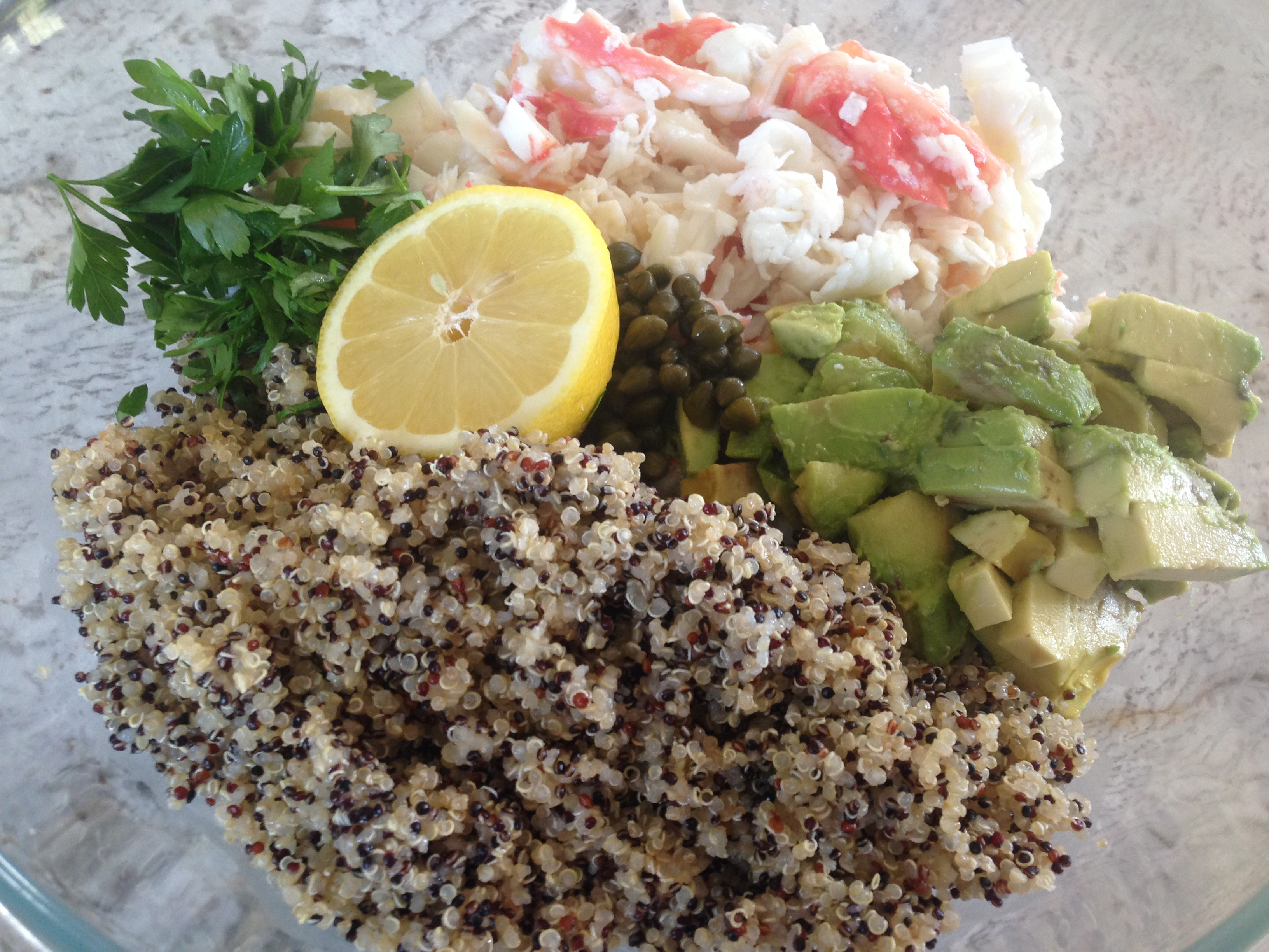 Crab Quinoa Salad With Lemon Butter And Avocado Well Dined