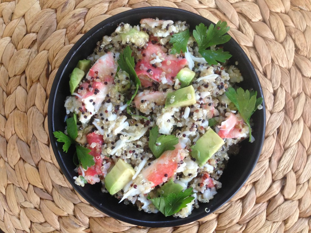 Well Dined | Crab Quinoa Salad with Lemon Butter and Avocado