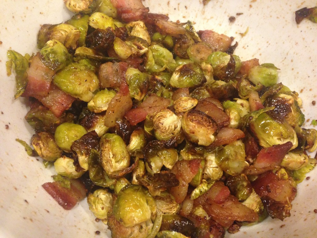 Well Dined | Balsamic Honey Mustard Roasted Brussels Sprouts with Bacon