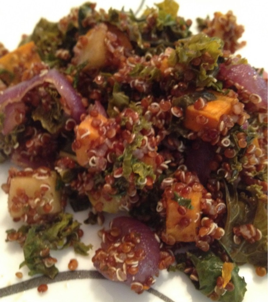 Well Dined | Quinoa Salad with Roasted Sweet Potato, Kale, Apple, and Red Onion