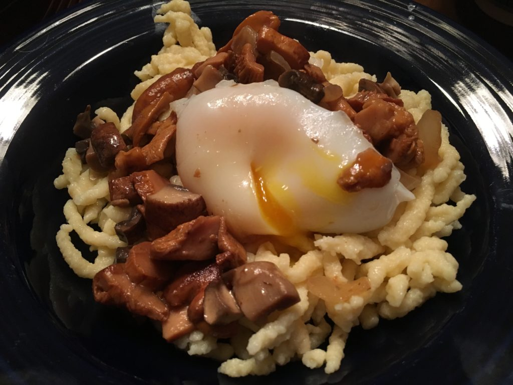 Well Dined | Spaetzle with Mushrooms, Herbs, and Duck Egg
