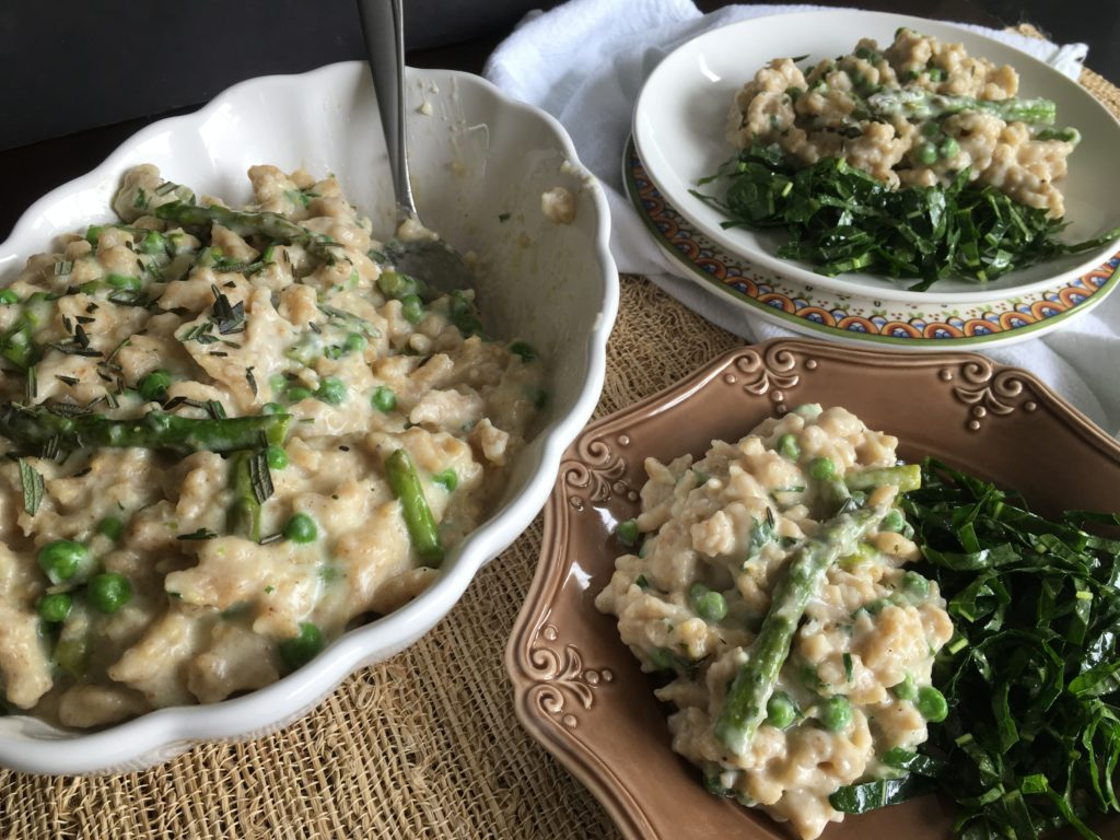 Well Dined | Rye Spaetzle with Spring Vegetables and Gruyere