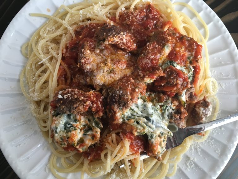 Well Dined | Oozing Eyeball Pasta (Spinach Dip Stuffed Meatballs)