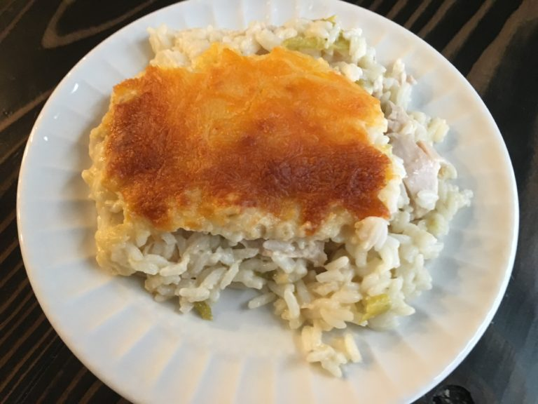 Well Dined | Cheesy Green Chile Chicken and Rice Casserole