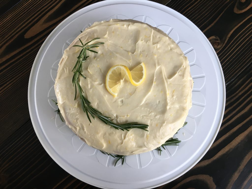 Well Dined | Lemon Rosemary Cake with Cream Cheese Icing