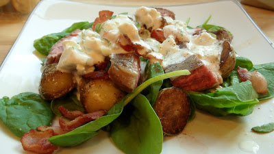 Well Dined | Spinach Salad with Bacon, Steak, Potatoes, and Blue Cheese Dressing