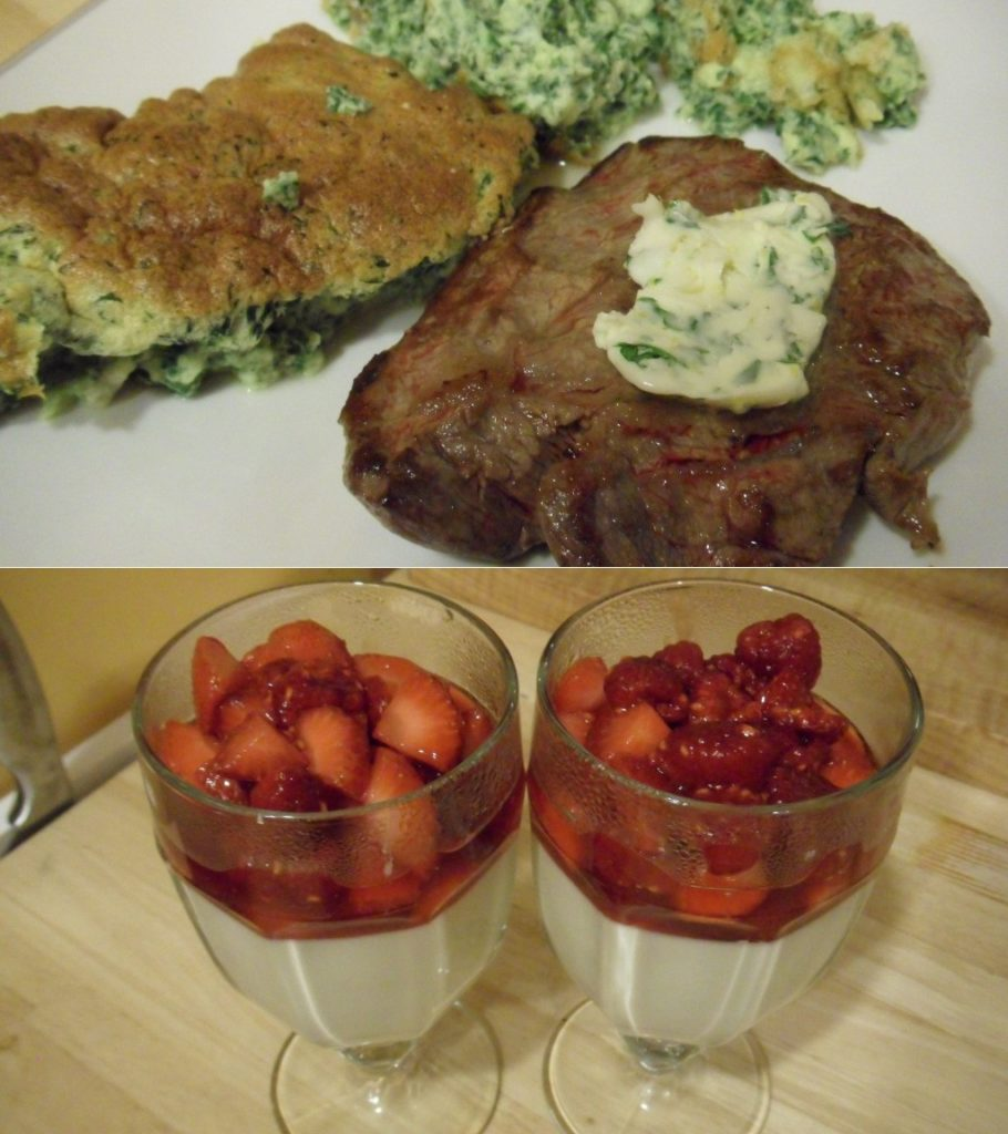 Well Dined | Steak, Spinach Souffle, Panna Cotta with Berry Compote